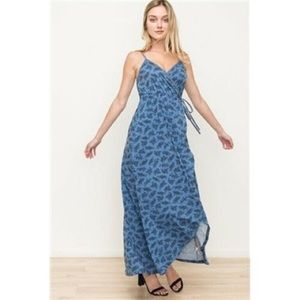 Hem & Thread Cami Wrap Jersey Maxi Dress Blue NWT